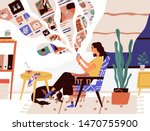 cute funny girl sitting in... | Shutterstock .eps vector #1470755900