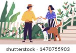 Stock vector professional dog walker getting domestic animal from owner cute woman giving leash to on demand 1470755903