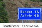 Road sign of a city in Turkey artvin
