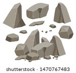 rock stone big set cartoon.... | Shutterstock .eps vector #1470767483
