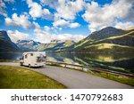 Family vacation travel RV, holiday trip in motorhome, Caravan car Vacation. Beautiful Nature Norway natural landscape. - stock photo