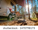 Family vacation travel RV, holiday trip in motorhome, Caravan car Vacation. - stock photo