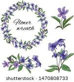 set of violet purple flowers on ... | Shutterstock .eps vector #1470808733