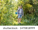 Stock photo adventures summer tourism and nature concept tourist arriving to a camping with his cat 1470818999