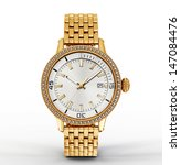 Golden Watch Isolated On A...
