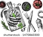 barbecue grill hand drawn food... | Shutterstock .eps vector #1470860300