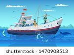 Fishing In Boat Flat Vector...