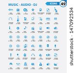 dj and music icon set blue... | Shutterstock .eps vector #147092534