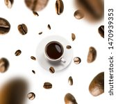 cup of coffee and coffee beans... | Shutterstock . vector #1470939353