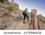 on a mountain road trecking to... | Shutterstock . vector #1470986636