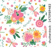 colorful seamless pattern with... | Shutterstock .eps vector #1470989483