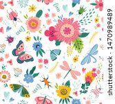 colorful seamless pattern with... | Shutterstock .eps vector #1470989489