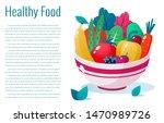 bowl full of vegetables  fruits ...   Shutterstock .eps vector #1470989726