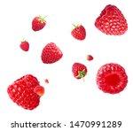 Fresh Ripe Raspberries Flying...