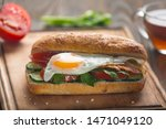 sandwich with egg  bacon ... | Shutterstock . vector #1471049120