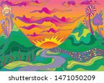 Retro Hippie Style Psychedelic...