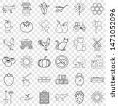 Tractor Icons Set. Outline...