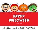 happy halloween lettering and... | Shutterstock .eps vector #1471068746