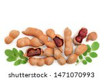 Tamarind Fruit With Leaf And...