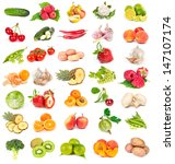 set of fresh vegetables and... | Shutterstock . vector #147107174