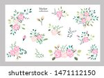 vector set with beautiful roses ... | Shutterstock .eps vector #1471112150