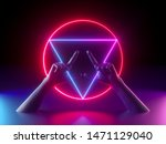 Stock photo  d render abstract minimal neon background mannequin hands red violet glowing geometric sign 1471129040