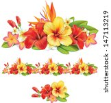 Stock vector garland of of tropical flowers 147113219