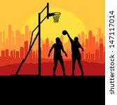women basketball in front of...   Shutterstock .eps vector #147117014