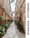 Small photo of Small alley in the old town of Valldemossa, Mallorca, Spain. Pavers and plants decorate the alley. Vertical photo.