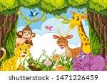 cute animals in jungle... | Shutterstock .eps vector #1471226459