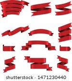 red ribbon set inisolated white ... | Shutterstock .eps vector #1471230440