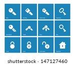 key icons on blue background....