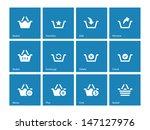 shopping basket icons on blue...
