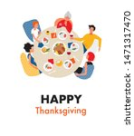 family dinner. happy... | Shutterstock .eps vector #1471317470