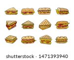 sandwich hand drawn vector... | Shutterstock .eps vector #1471393940
