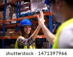 warehouse workers giving high... | Shutterstock . vector #1471397966