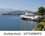 Small photo of Gmunden, Austria - September 13 2012: Paddle steamer Gisela on lake Traunsee in Gmunden, Upper Austria