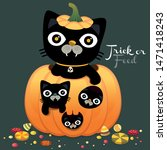 happy halloween party with cute ... | Shutterstock .eps vector #1471418243