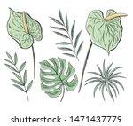 vector set of floral elements ... | Shutterstock .eps vector #1471437779