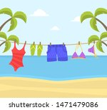 beach clothes hanging on rope ...   Shutterstock .eps vector #1471479086
