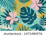 Tropical Flowers Mid Century...