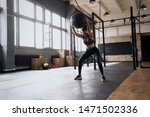 Woman Doing Exercise With Heavy ...