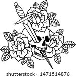 tattoo with roses and skull ... | Shutterstock .eps vector #1471514876
