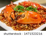 Small photo of Stir-fried crab with garlic and black pepper, Serrated Mud Crab, black crab, Close up, Thai Food