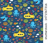 vector marine pattern. under... | Shutterstock .eps vector #1471567316