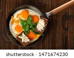 fried eggs and bread with... | Shutterstock . vector #1471674230