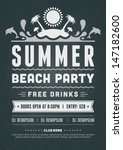 retro summer party design... | Shutterstock .eps vector #147182600
