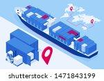 isometric maritime transport... | Shutterstock .eps vector #1471843199