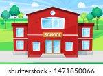 big school with green territory ...   Shutterstock .eps vector #1471850066