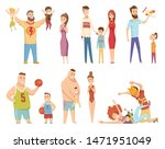 happy young family. dad  mom... | Shutterstock .eps vector #1471951049